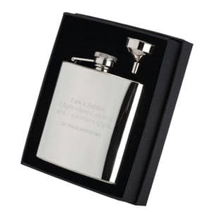 Stainless Steel Hip Flask in Presentation Box incl funnel 6oz