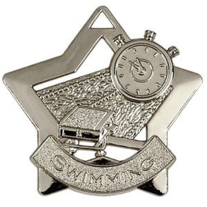 "Swimming Medal 60mm (2.35"") Silver"