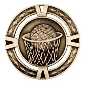 "V-Tech Series Medal - Basketball Gold 60mm (2.35"")"