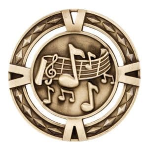 "V-Tech Series Medal - Music Gold 60mm (2.35"")"