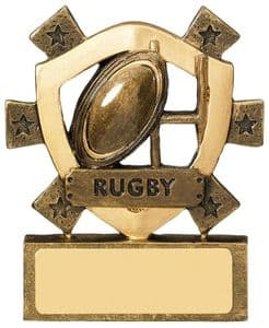 Antique Gold Rugby Mini Shield Award 80mm (3'')