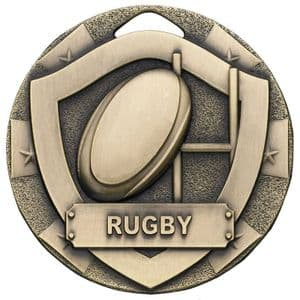 """Antique Gold Rugby Mini Shield Medal 50mm (2"""")"""