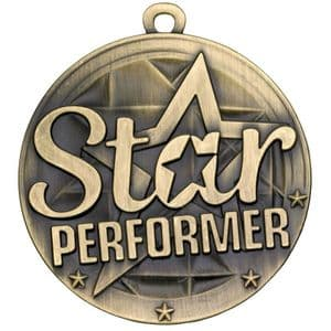 Antique Gold Star Performer Medal 50mm