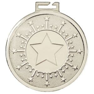 "Aura Silver Large Star Medal 50mm (2"")"