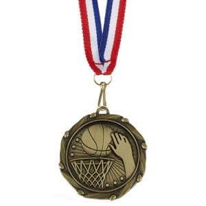 "Basketball Combo Medal 45mm (1.8"") with Ribbon"