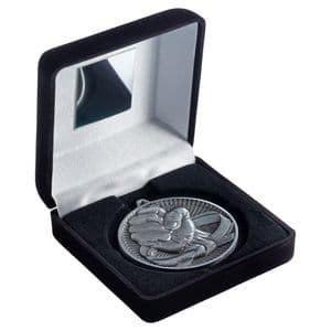 "Black Velvet Box 102mm (4"") with Antique Silver Martial Arts Medal 60mm (2.4"")"