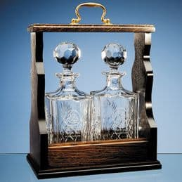 Blenheim Lead Crystal Square Panel Decanters 0.8ltr & Double Tantalus