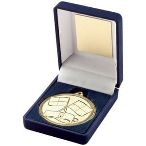 Blue Medal Box + Gold Referee Rugby 50mm Medal Award