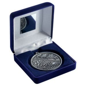 "Blue Velvet Box 102mm (4"") with Antique Silver Swimming Medal 60mm (2.4"")"