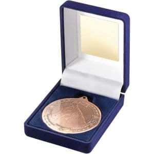 "Blue Velvet Box + Bronze Equestrian Medal Trophy 50mm (2"")"