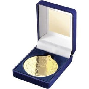 "Blue Velvet Box + Gold Equestrian Medal Trophy 50mm (2"")"