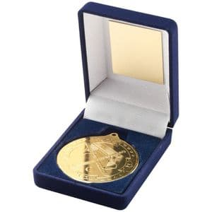 "Blue Velvet Box Medal Hockey Trophy - Gold 50mm (2"")"