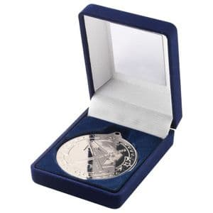 "Blue Velvet Box Medal Hockey Trophy - Silver 50mm (2"")"