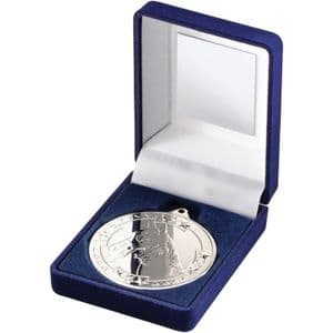 "Blue Velvet Box + Silver Equestrian Medal Trophy 50mm (2"")"