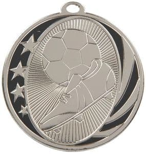 Boot Ball and Stars Football Silver Medal 50mm