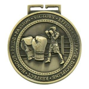 "Boxing Olympia Medal Antique Gold 70mm (2.8"")"