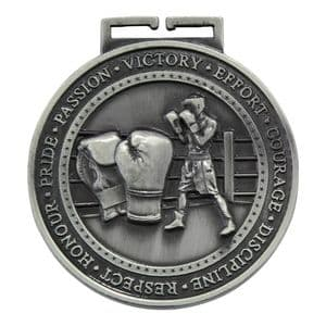 "Boxing Olympia Medal Antique Silver 70mm (2.8"")"