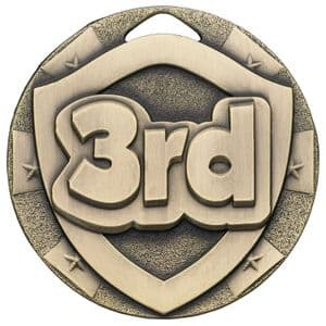 Bronze 3rd Place Mini Shield Medal 50mm