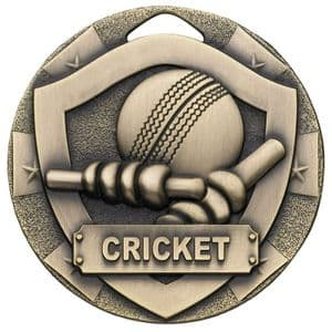 Bronze Cricket Mini Shield Medal 50mm
