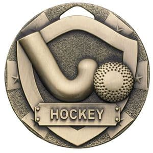 Bronze Hockey Mini Shield Medal 50mm
