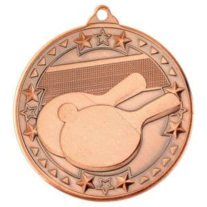 "Bronze Table Tennis Tri Star Medal 50mm (2"")"