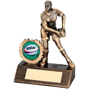"Brz/Gold Resin Mini Female Rugby Trophy 95mm (3.75"")"
