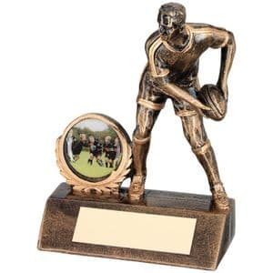 "Brz/Gold Resin Mini Male Rugby Trophy 95mm (3.75"")"