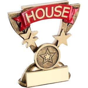 """Brz/Gold School House Mini Cup Trophy - Yellow 95mm (3.75"""")"""