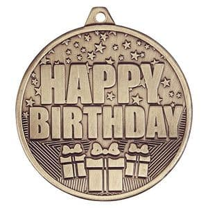 "Cascade Happy Birthday Iron Medal Antique Gold 50mm (2"")"