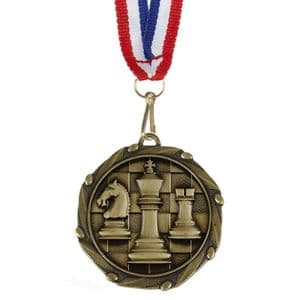 """Chess Combo Medal 45mm (1.8"""") with Ribbon"""