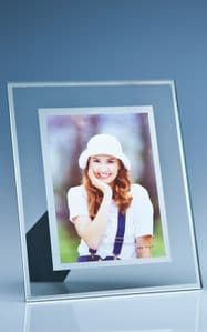 "Clear Glass Frame With Mirror Inlay For 5"" X 7"" Photo, V"