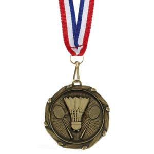 "Combo Badminton Medal 45mm (1.8"") with Free Ribbon"
