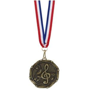 "Combo Music Medal 45mm (1.8"") with Free Ribbon"