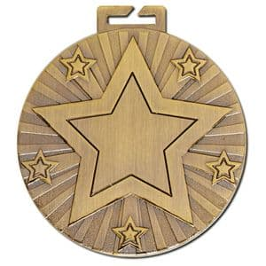 "Cosmos Antique Gold Large Star Medal 50mm (2"")"