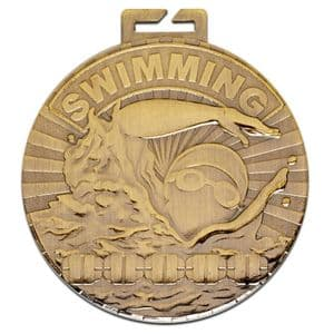 "Cosmos Antique Gold Swimming Medal 50mm (2"")"