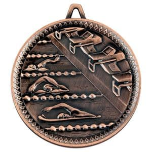 "Deluxe Antique Bronze Swimming Medal 60mm (2.4"")"