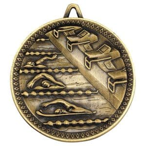 "Deluxe Antique Gold Swimming Medal 60mm (2.4"")"