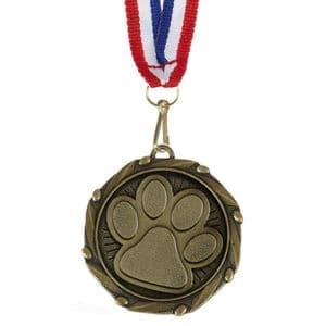 "Dog Paw Combo Medal 45mm (1.8"") with Ribbon"