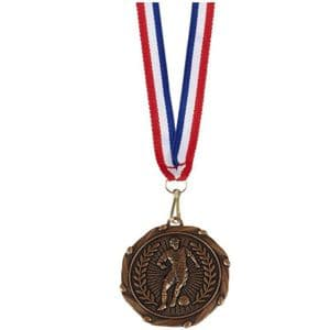 """Football Combo Medal 45mm (1.8"""") with Ribbon Bronze"""
