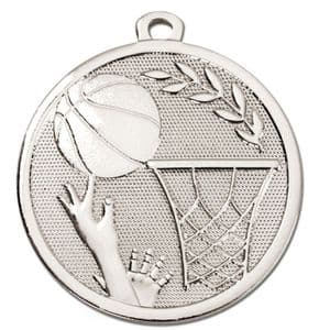 "Galaxy Basketball 45mm (1.8"") Medal Silver"