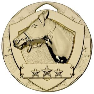 Gold Equestrian Mini Shield Medal 50mm