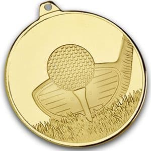 "Gold Frosted Glacier Golf Club Medal 50mm (2"")"