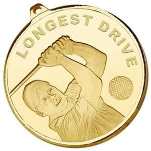 "Gold Longest Drive Frosted Glacier Medal 50mm (2"")"