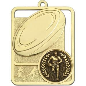 Gold Lynx Rugby Ball Medal 62mm