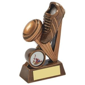 """Gold Resin Boot & Ball Rugby Award 130mm (5"""")"""