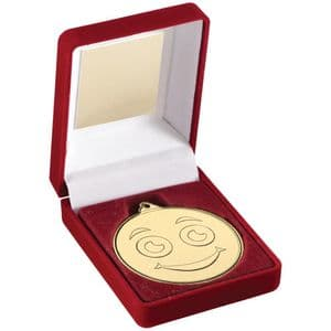 "Gold Smiley Face Medal 50mm (2"") + Box 89mm (3.5"") Combo"