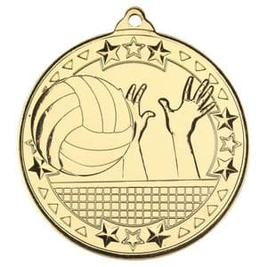 "Gold Volleyball Tri Star Medal 50mm (2"")"