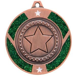 "Green Glitter Star Medal Bronze 50mm (2"")"