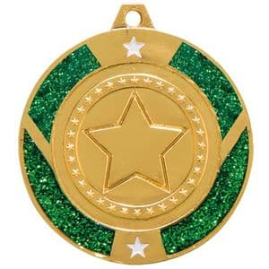 "Green Glitter Star Medal Gold 50mm (2"")"