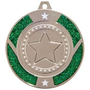 "Green Glitter Star Medal Silver 50mm (2"")"